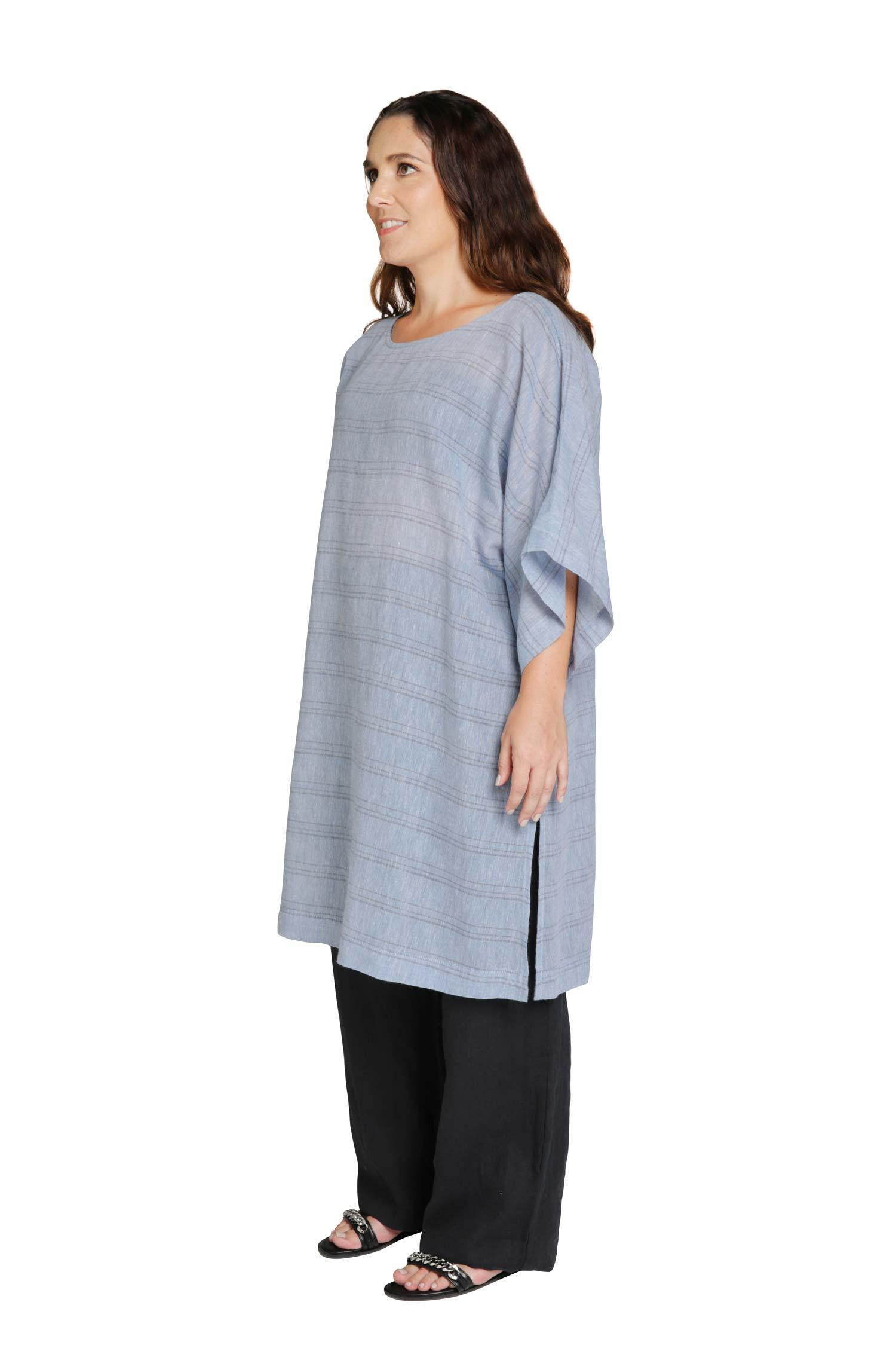 Blue tunic with horizontal stripes