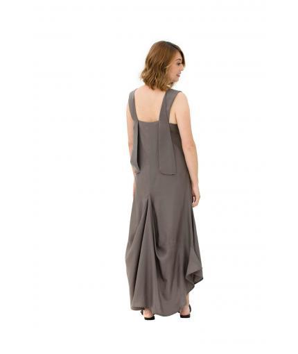 Khaki dress with V-neckline