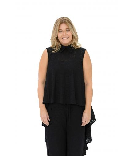 Asymmetrical sheer black top