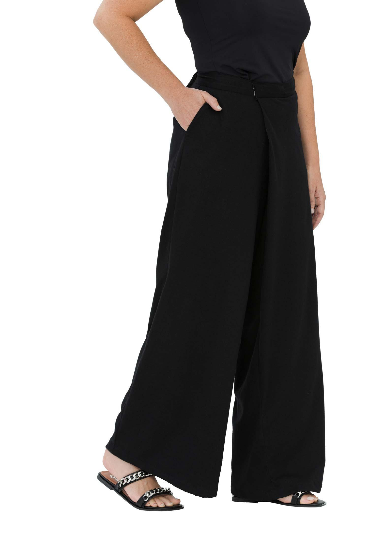 Cotton-jersey trousers with asymmetrical waist