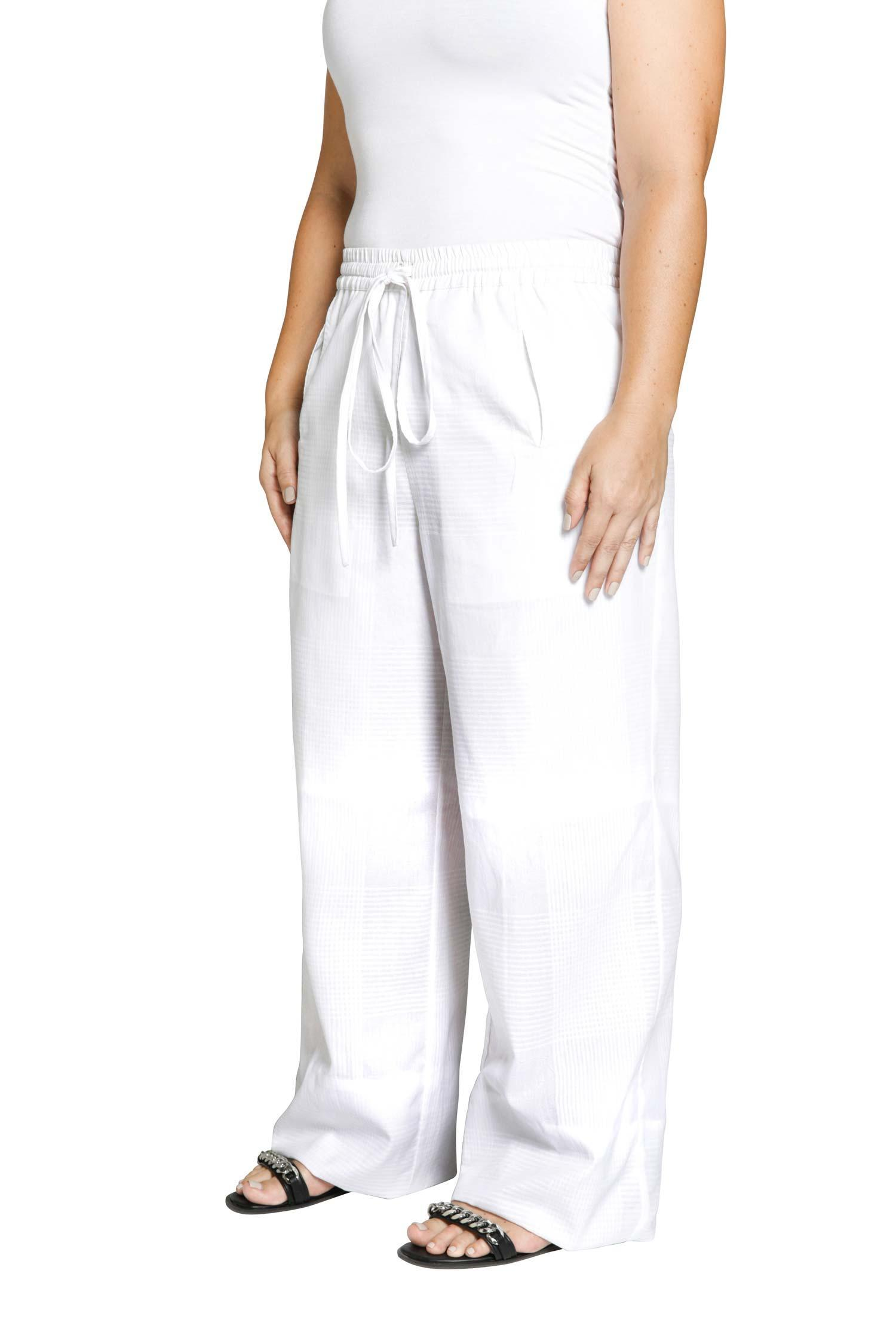 White checked cotton trousers