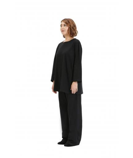 A-line black knit top