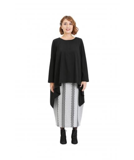 Black asymmetric knit top