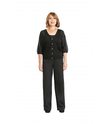 Black sheer 5 button cardigan