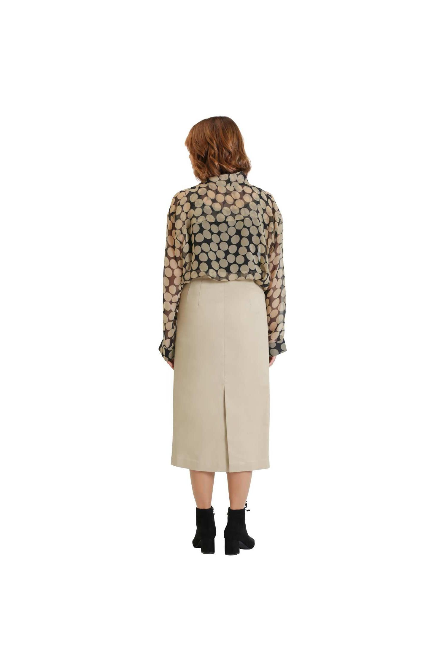 Beige cotton pencil skirt