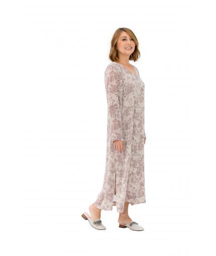 Chiffon dress with animal print