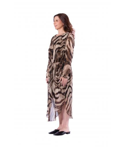 Animal print long sleeve dress