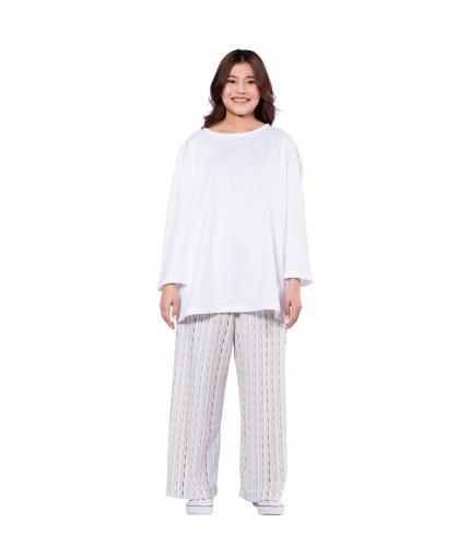 Wide leg cotton knit trousers