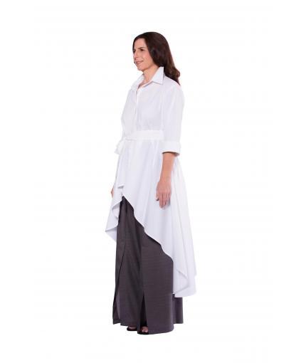 White long back asymmetric shirt