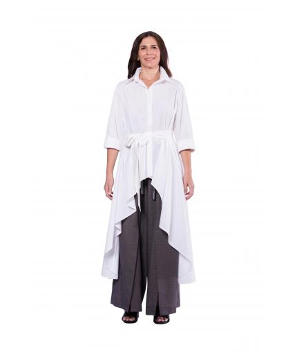 White long back asymmetric shirt
