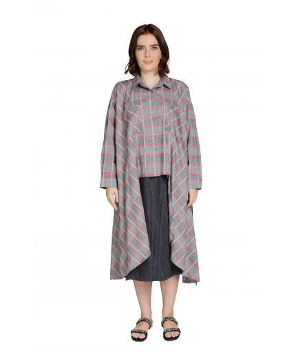 Checked asymmetrical shirt in grey and red
