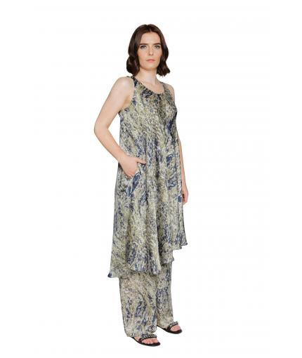 Silk angled dress with matching trousers