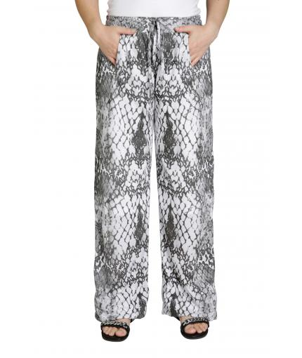 Knit trousers with python print