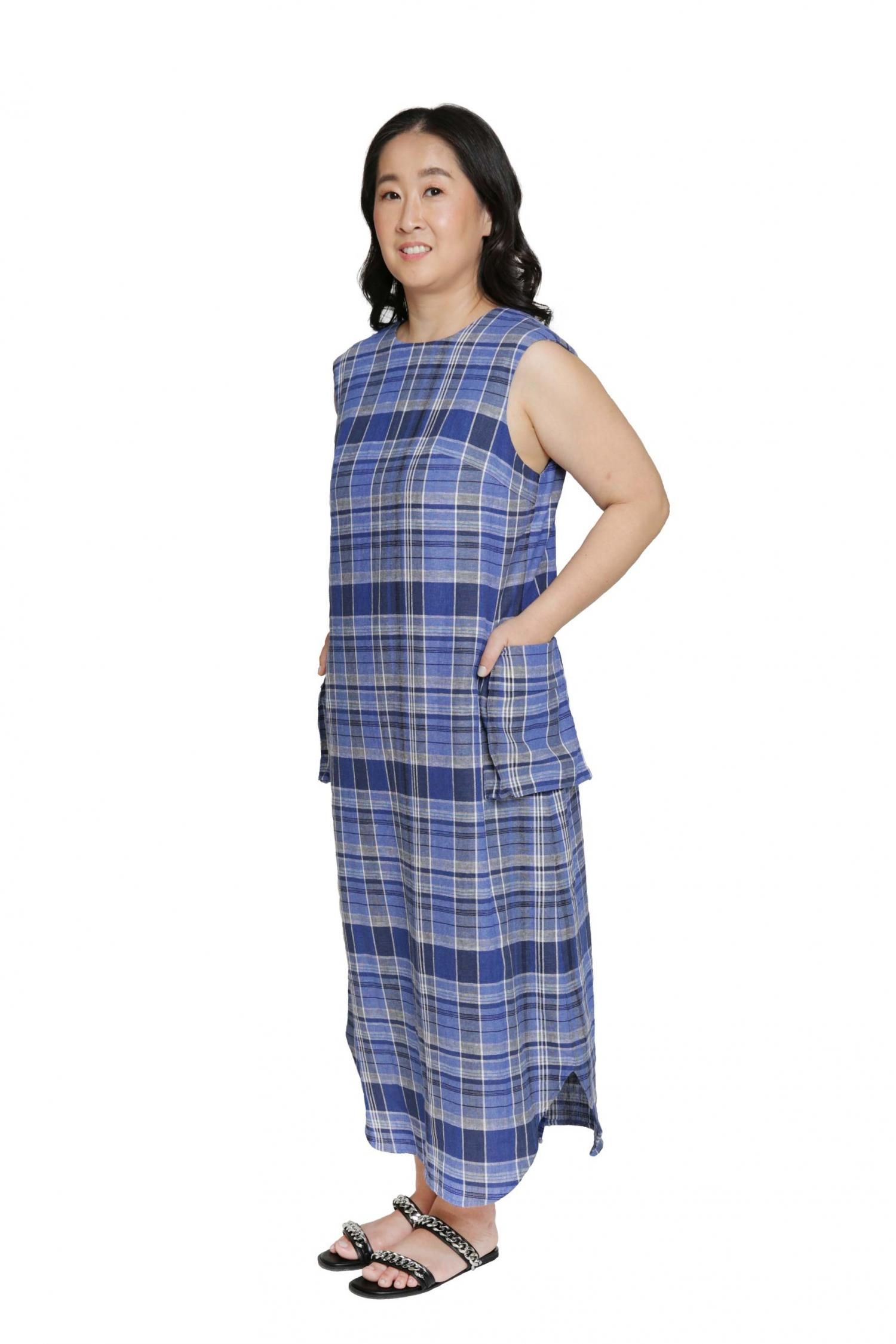 Checked relaxed fit dress