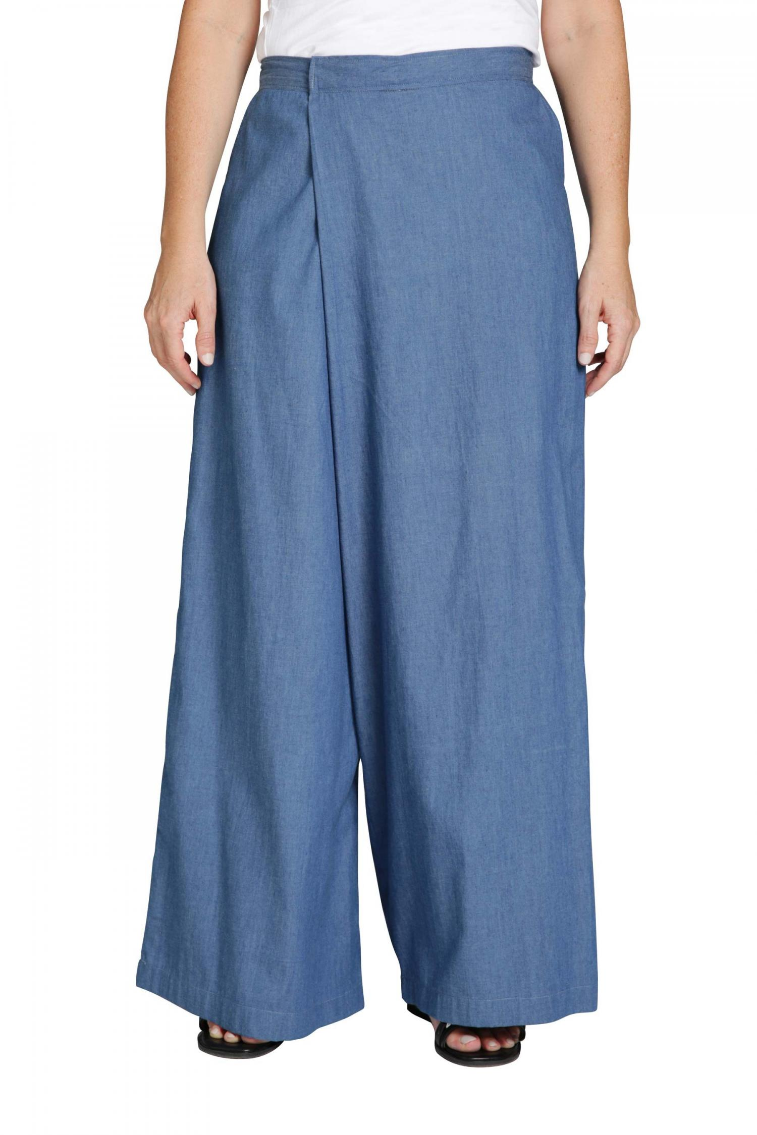 Cotton trousers with asymmetrical waist